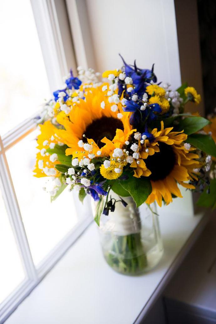 Nuntă Rustică Cu Floarea Soarelui Spice De Grâu și Alte Flori De